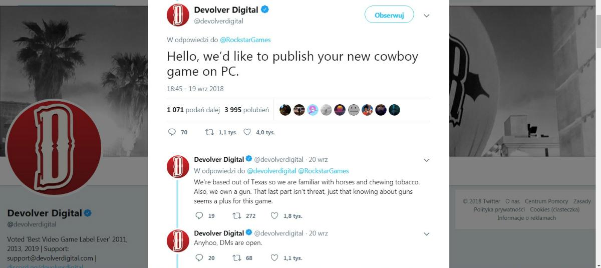 Devolver Digital zażartowało z Rockstar Games proponujac wydanie Red